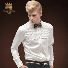 FANZHUAN Featured Brands Clothing Fashion  Men's Shirt Tuxedo Shirts The groom gets married White Shirt Patchwork Tops Men Dress