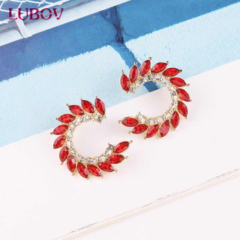 LUBOV 8 colors New Design Full Crystal Stud Earrings Fashion Women Statement Earring Girl Party Simple Earrings Jewelry 2019
