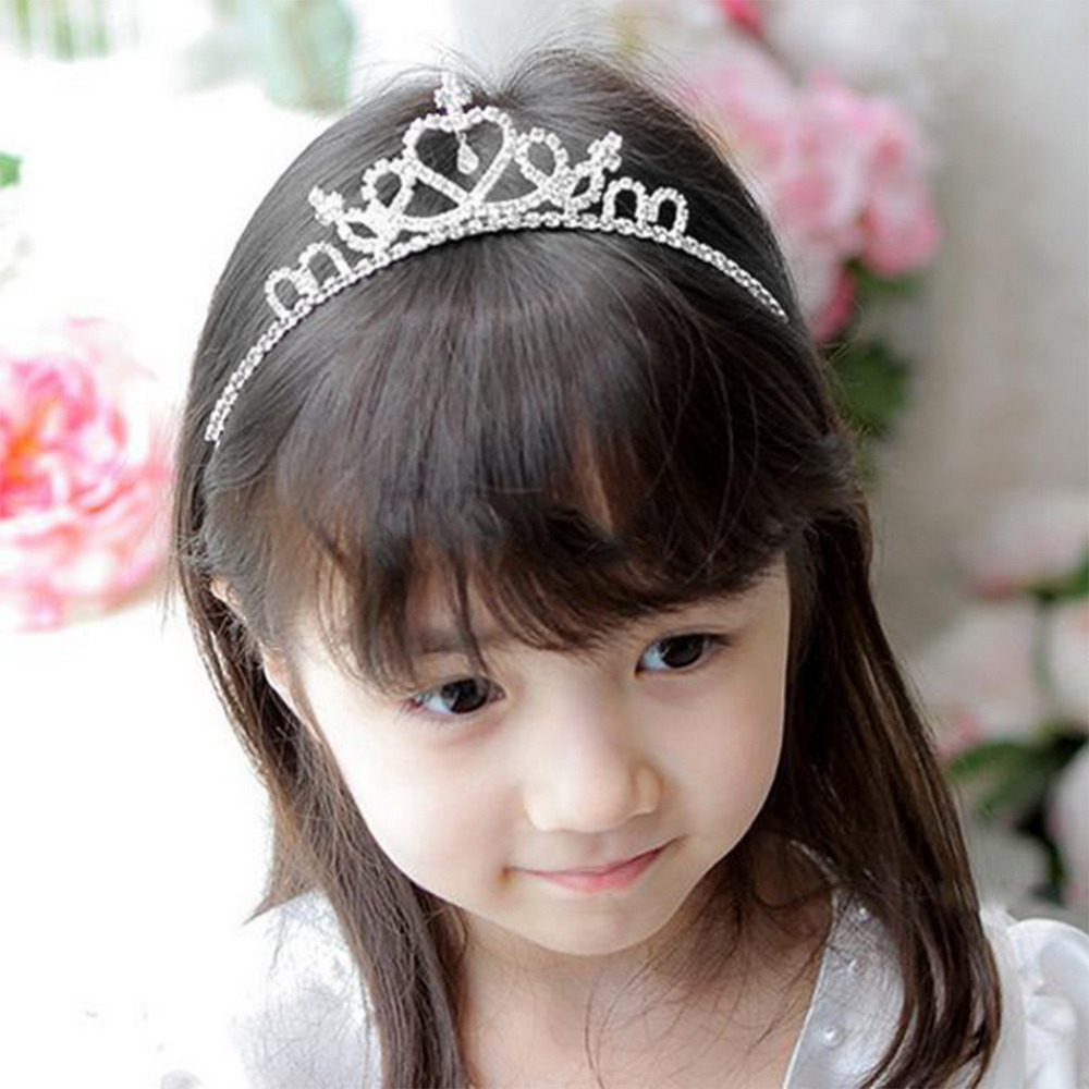 Kids Flower Girl Children Wedding Prom Tiara <font><b>Crown</b></font> Headband - Kid Size Baby <font><b>Princess</b></font> Headband Girls Hair Band Hair Accessories image