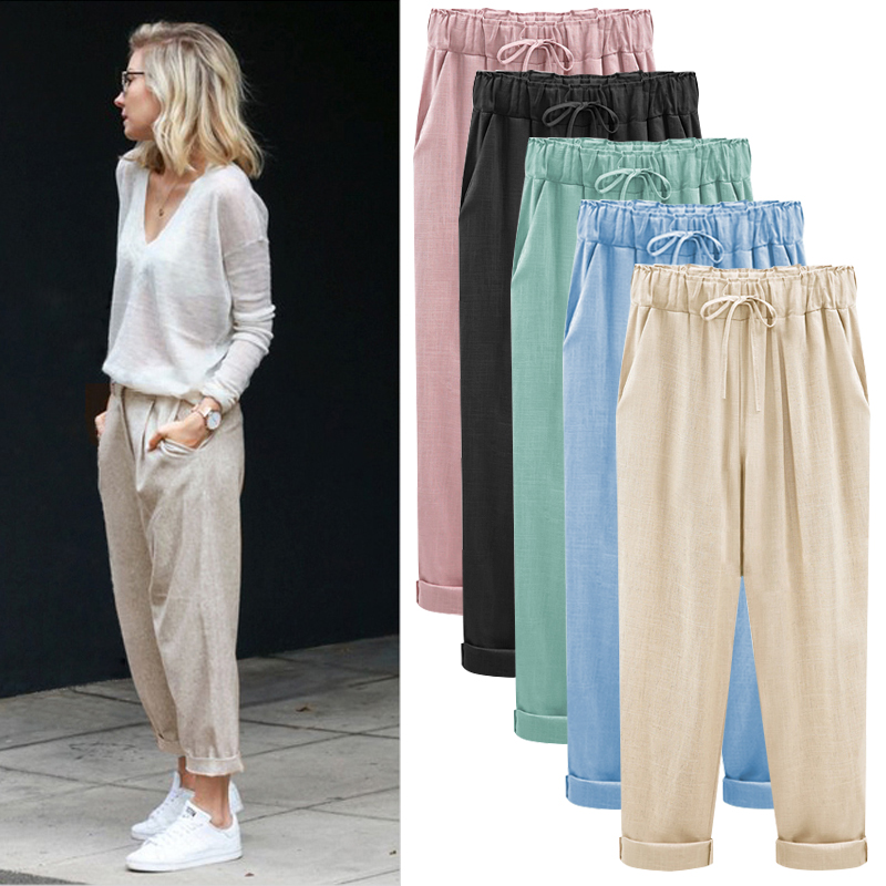 M-6XL Plus Size Women Pants Linen Cotton Casual Harem Pants Candy Color Harajuku Green Trousers Female Ankle-length Length Pants(China)