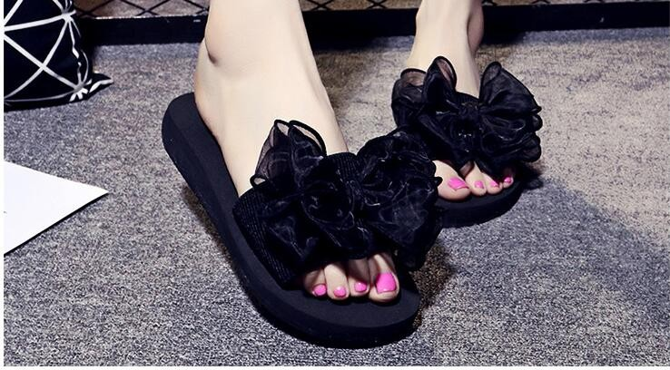 Bow Thong Jelly Shoes Woman Flip Flops Sandals