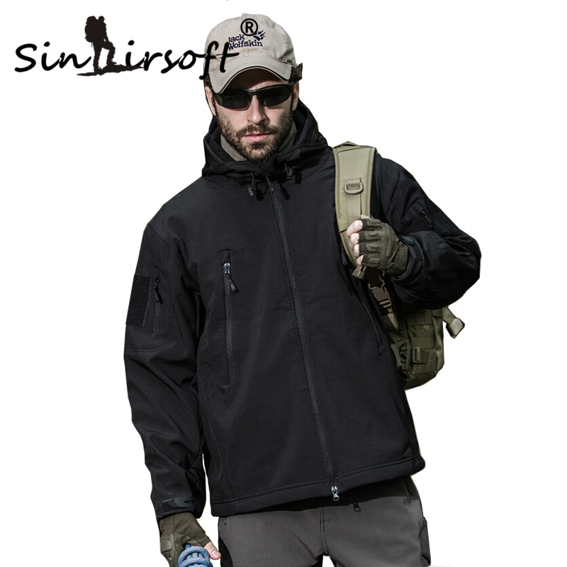 Sinairsoft Softshell Jacket Men Tactical Jackets Outdoor Waterproof Sports Camouflage Hunting Camping Hiking Fleece Jackets