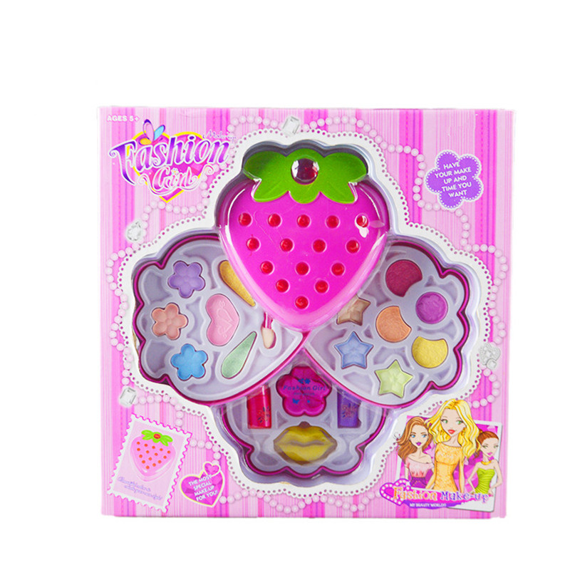 Children Make Up Small strawberry Set Toys Kids Girl Cosmetics Party Performances Dressing Box Makeup Pretend Play Toys Children