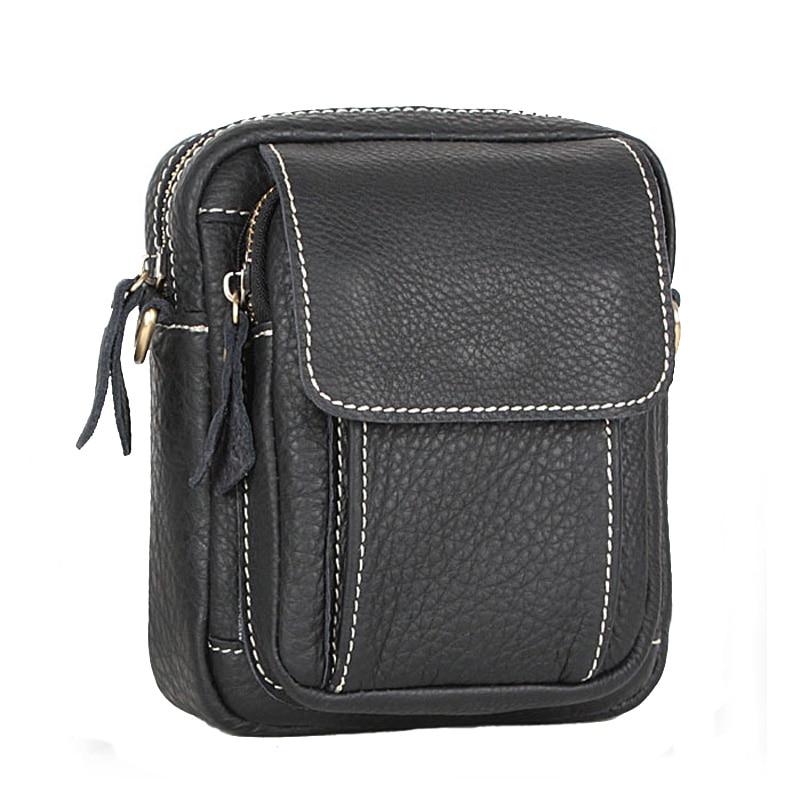 Echtes leder messenger bags lässig mann hüfttasche kleine - Handtaschen