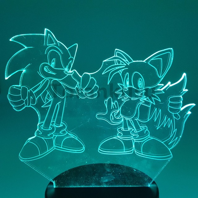 Sonic Action Figure 3D Night Lights LED Changing Anime The Hedgehog Sonic Miles Prower Sonic 3D Lighting Novelty Light Model Toy