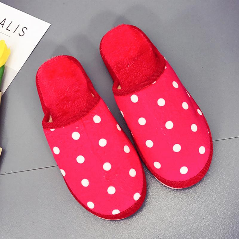 2018 Winter Warm Women Cotton Slippers Cute Dot Indoor Soft Plush Cotton Slippers Shoes Ladies Floor Non-Slip Furry Slippers 1 women s winter furry slippers home non slip soft couples cotton thick bottom indoor warm rubber clogs woman shoes