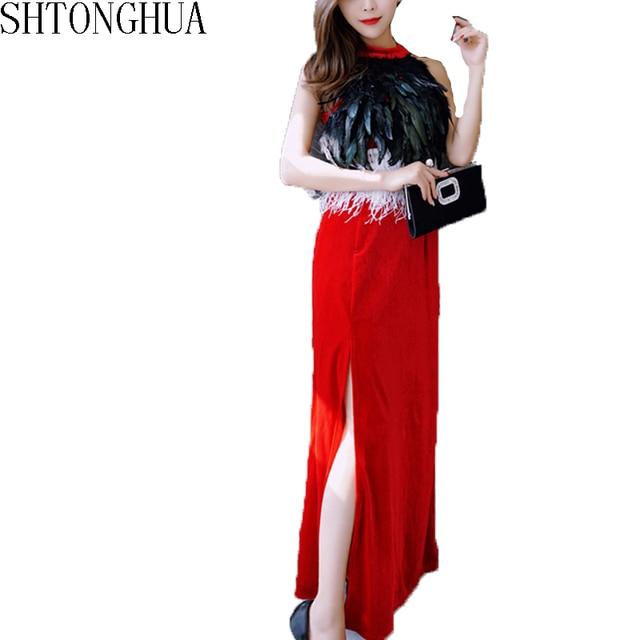 9d5dc736f99 2019 Fall Winter New Celebrity Split Party Dinner Long Dress Ostrich  Feather Black Red Velvet Female Dress