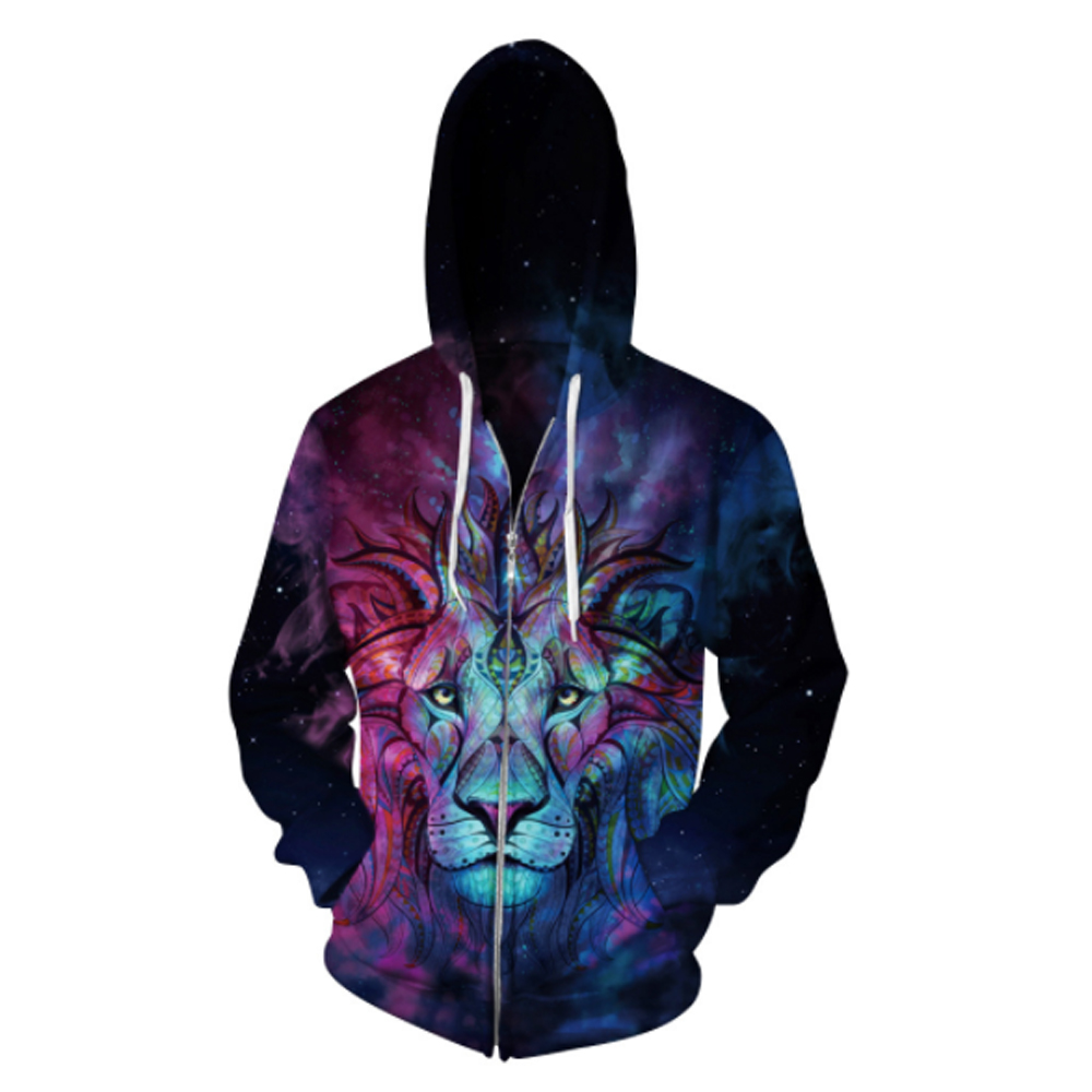 Shirt Capuchon Éclair Graphique Hoodies Fermeture Nouvelle Drôle Tie 3d Imprimé Casual as femmes Lion Show dye Sweat As Show Capuche À Chemises Hommes aFwq4xSqg