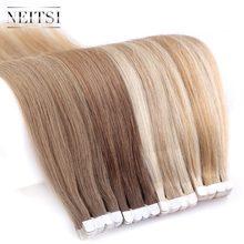 Neitsi mini fita adesiva para cabelo, não remy extensão de cabelos humanos 12, 16 e 20, 10/20/40 pçs 13 cores lisas da pele trama do cabelo natural
