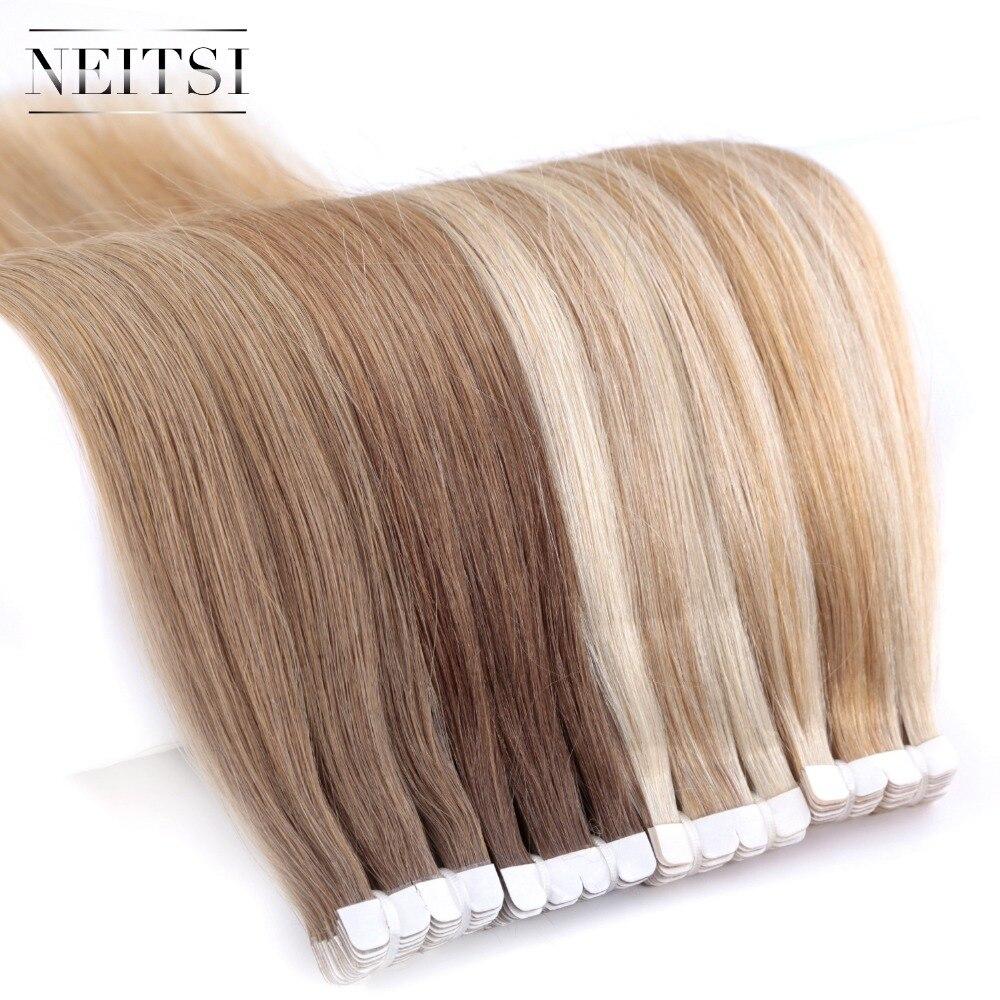 """Neitsi mini fita na extensão adesiva do cabelo humano não remy 12 """"16"""" 20 """"10/20/40 pces 13 cores da trama da pele reta cabelo natural"""