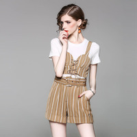 High Quality Women 2 Pieces Sets 2017 New Summer Short Sleeve Strap Tops Short Pants Fashion