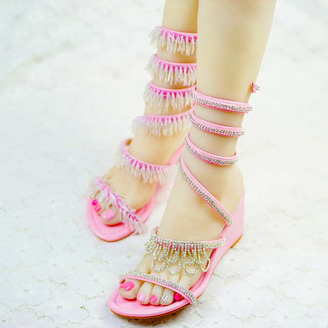 35b2fabc529 Beautiful Summer Women Wedding Bridal ShoesCrystal Wedge Heels Dress Shoes  Gladiator Sandals Sparkling Bridal Dress Shoe