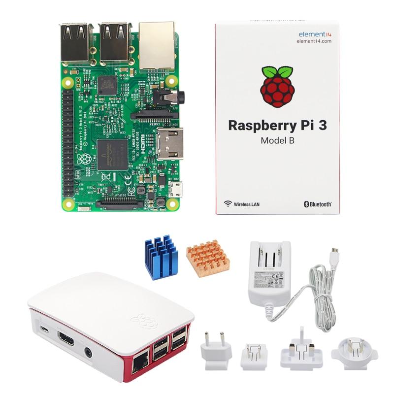 Raspberry Pi 3 Official Kit RPI 3 + 5.1V 2.5A Power Adapter + Official Case + Heat Sink for Raspberry Pi Model B Free Shipping original uk raspberry pi 3 starter kit abs case 2 5a power supply adapter aluminum heat sink for raspberry pi 3 model b