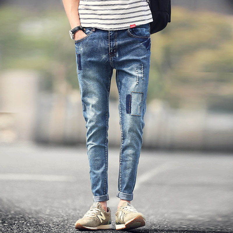 Men s fashion slim colored sunflower print jeans casual - Jeans trend 2017 ...