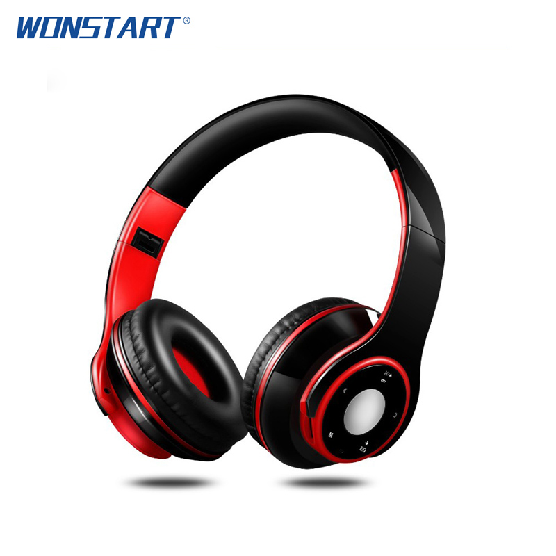 WONSTART Wireless Bluetooth Headphones Foldable Stereo Headset Music Earphone with Microphone Support TF Card FM Radio for phone broadcore bluetooth headphones music earphone stereo foldable headset tf card with mic microphone for iphone 6s galaxy 30dec8