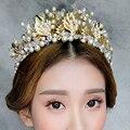 Barroco de cabelo acessórios véu Tiaras coroa de noiva tiara de cristal pérola folha