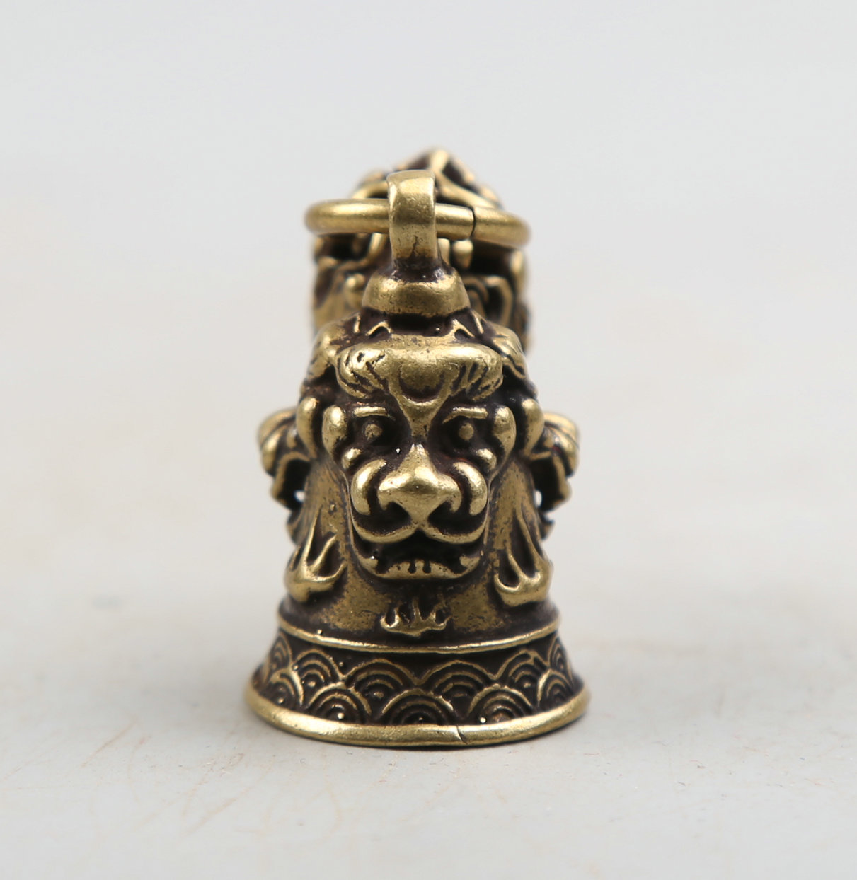 60MM 2 4 quot Collect Curio Rare China Fengshui Small Bronze Exquisite Animal Lion Head Animal Head Small Bell Pendant Statuary 31g in Statues amp Sculptures from Home amp Garden