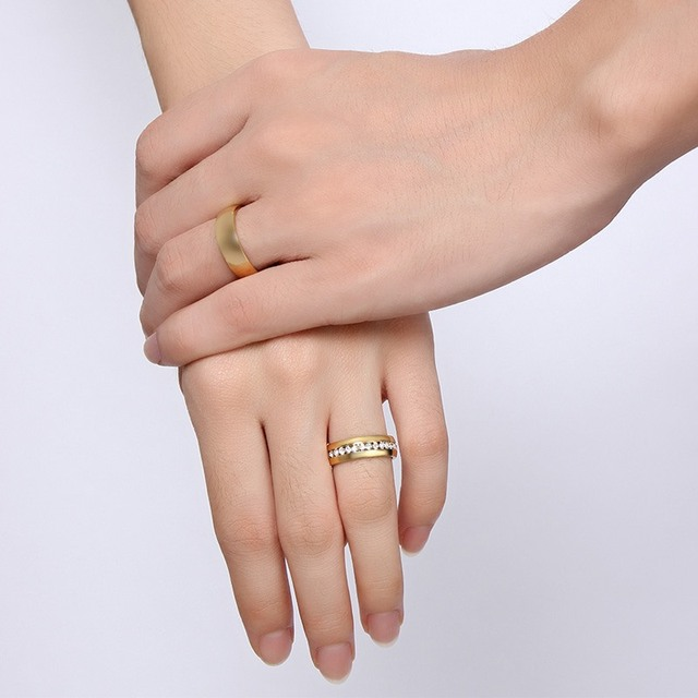 Vnox Gold Color Wedding Bands Ring for Women Men Jewelry Stainless Steel Engagement Ring Couple Anniversary Gift Amazing Price 5