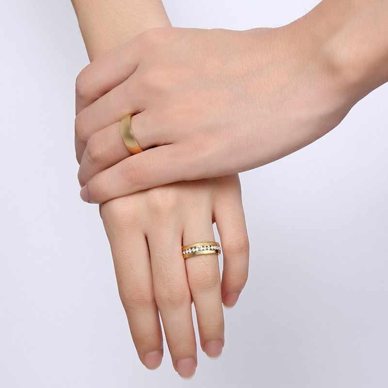 Vnox złoty kolor obrączka ślubna dla kobiet mężczyzn biżuteria pierścionek zaręczynowy ze stali nierdzewnej para prezent na rocznicę