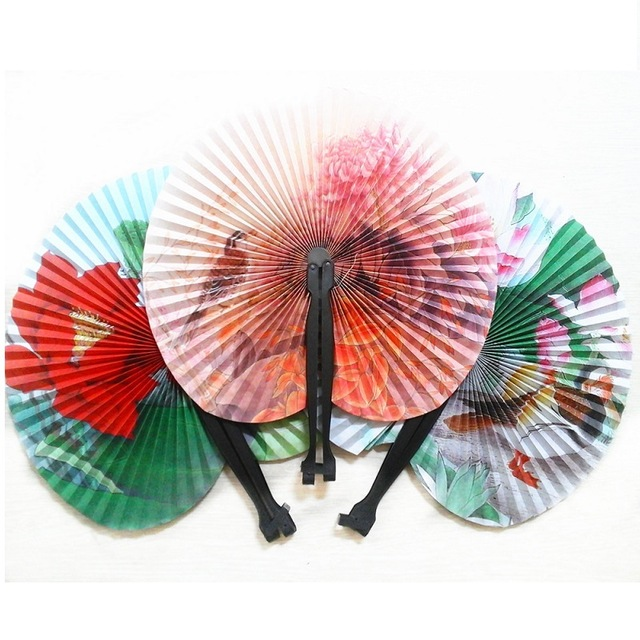 100PC Summer Style Art Chinese Folding Hand Paper Fans for Event Party Wedding Home Decoration Crafts