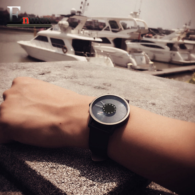 2017 men gift Enmex brief design  stainles steel strap creative Upside down hand unique design for young fashion quartz watches