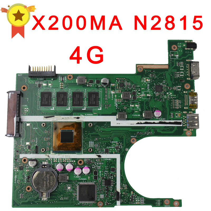 Free shipping Original laptop Laptop motherboard FOR ASUS X200MA mainboard With N2815 CPU 4G Integrated fully test  k56cb laptop motherboard for asus with i7 cpu non integrated k56cm mainboard 100