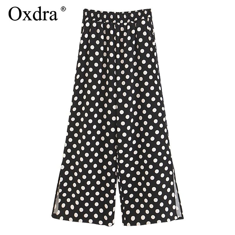 Oxdra Women   Pants   2018 Fashion Dot Ankle-Length Loose Trousers Women Elastic High Waist Trendy Classic Vintage   Wide     Leg     Pants