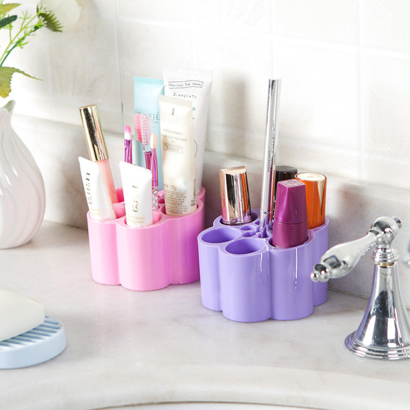 Attractive Simple Candy Colors Plum Shaped Storage Box Finishing Cosmetic Box Home Bathroom  Accessories Makeup Organizer Holder
