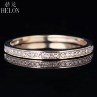 HELON Solid 14K 585 Yellow Gold 0 10CT 100 Genuine Natural Diamonds Engagement Wedding Anniversary Women