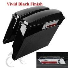 5 Vivid Black Stretched Extended Hard Saddlebags For 93-13 Harley Touring Model