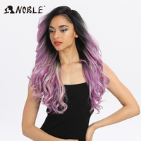 Noble Hai Synthetic Wig 22 Inch Long Wavy Pink Purple Cosplay Wig Heat Resistant Wigs for Black Women Synthetic Lace Front Wig
