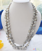Hot selling free shipping******* 50 14mm gray striae baroque freshwater pearl necklace