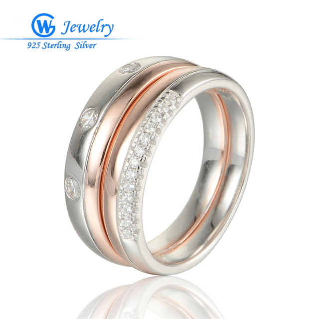GW Fine Jewellry Smart Lovers Rings 925 Sterling Silver Ring Natural Stone Rose Gold For Men & Women Wedding Jewelry RIPY038H20