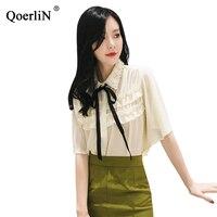 QoerliN Women Pink Chiffon Tops Blouse Korean Style Sweet Short Sleeve Ruffles Pleated Shirts Street Wear Shirts Office Work Top