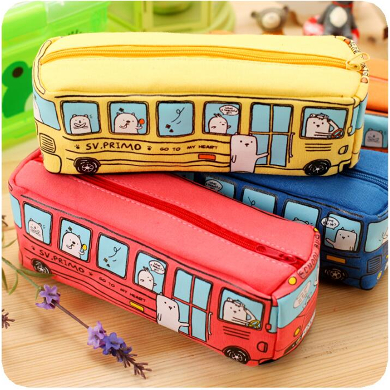 Form New Animal School Bus Stationery Canvas Pencil Case Storage Organizer Pencil Bag gift Office School Stationery supply mini s size pencil bag pencil case pen stationery storage art school office home supplies transparent pens holder fashion gifts
