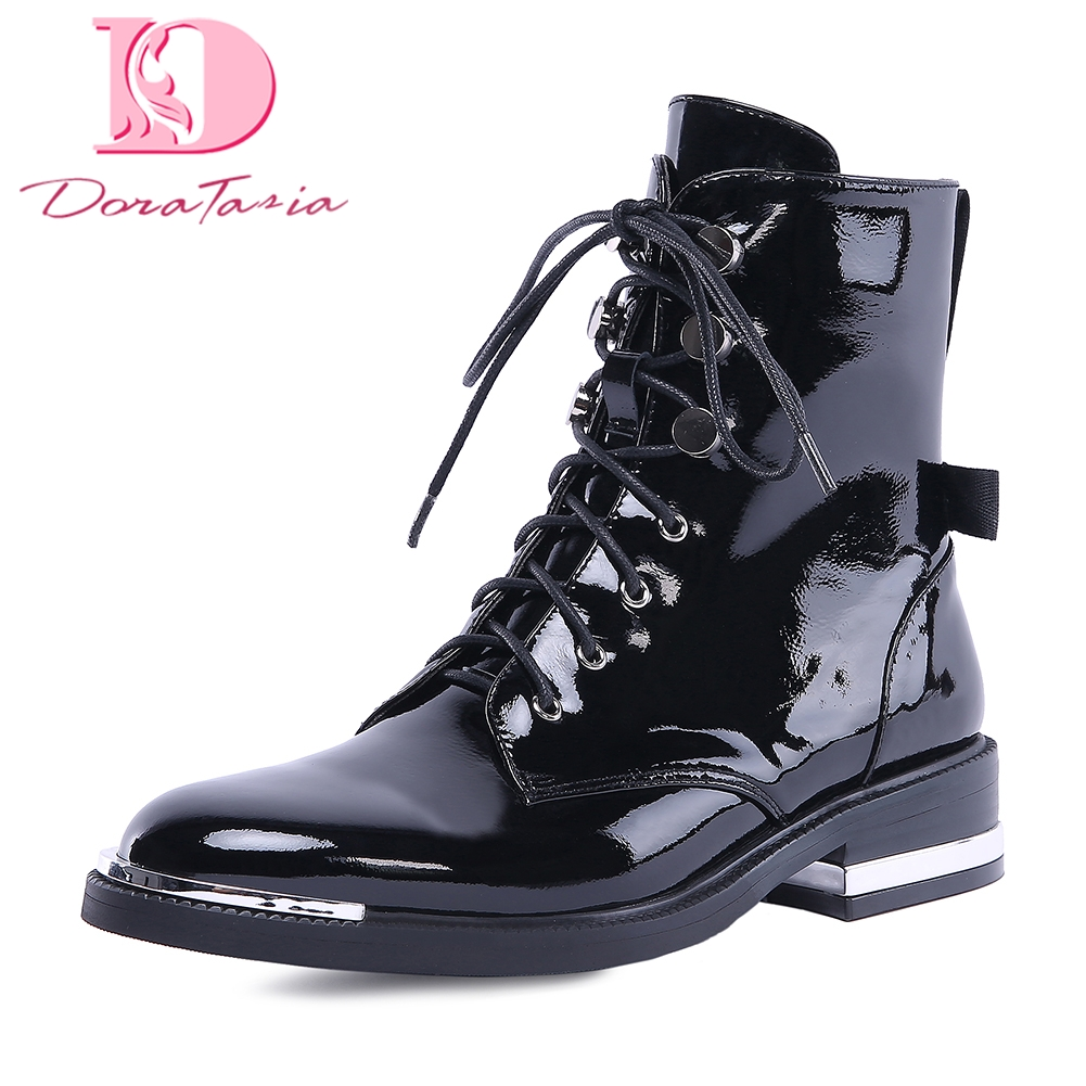 Doratasia new Cow Leather plus Size 34-42 Lace Up Shoes Woman Boots leisure martin boots Hot Sale Ankle Boots Woman Shoes