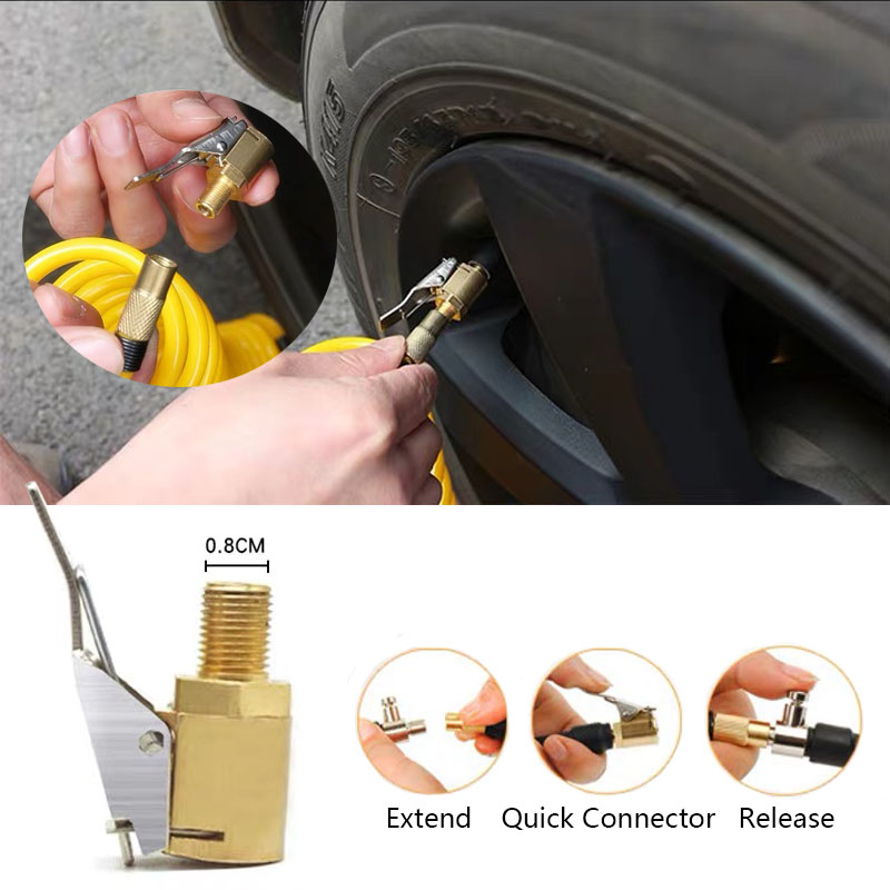 Flexible Motorcycle Bicycle Car Clip On Air Tyre Tire Chuck Inflator Hose Tool