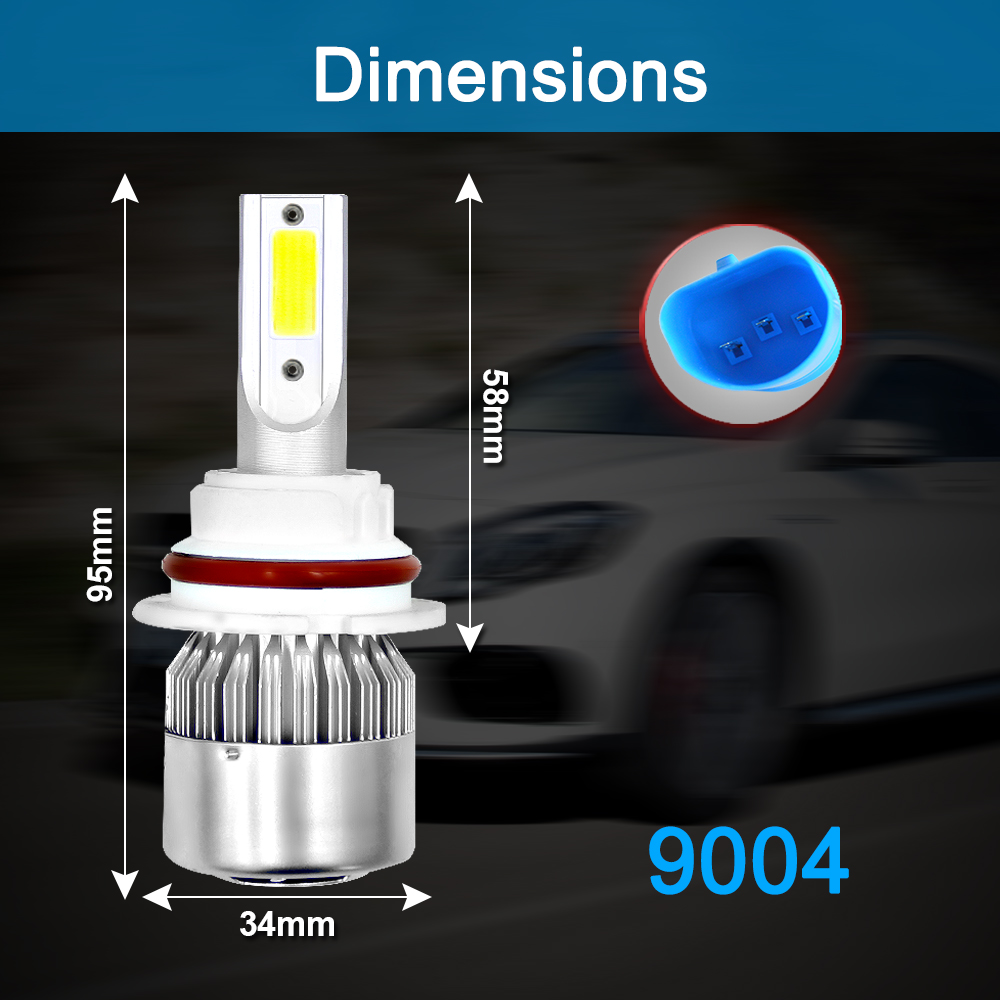 Image 2 - 2pcs Car Lights Bulbs LED H4 H7 9003 HB2 H11 LED H1 H3 H8 H9 880 9005 9006 H13 9004 9007 Auto C6 Headlights 6000K Led Light-in Car Headlight Bulbs(LED) from Automobiles & Motorcycles