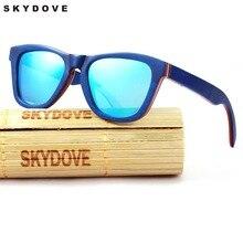 9210dc12891e36 SKYDOVE Polarisées lunettes de Soleil En Bois de Planche À Roulettes Cat  Eye lunettes de Soleil En Bambou Hommes En Bois Lunette.