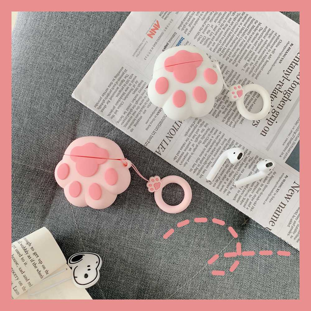 Cute Cat Claw Toy Doll Soft Silicone Case For Apple Airpods Case Wireless Bluetooth Earphone Cover Toys Decor Pendant Toy Cases