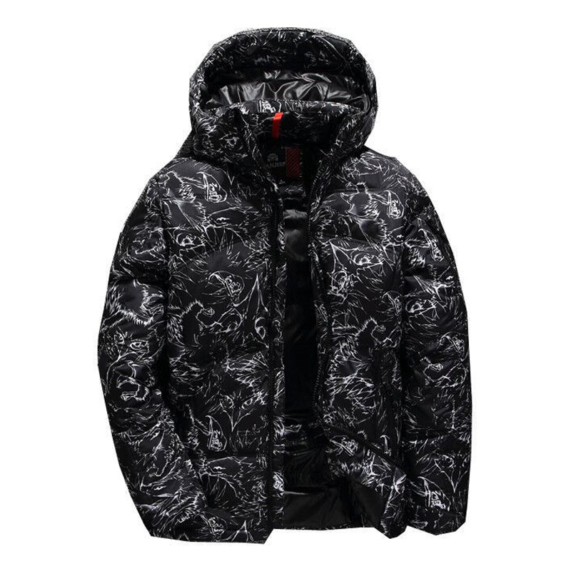 2019 Winter New Men's Brand   Down   Jacket Fashion Casual Thick Hooded Warm Graffiti White Duck   Down     Coat   Male Clothes