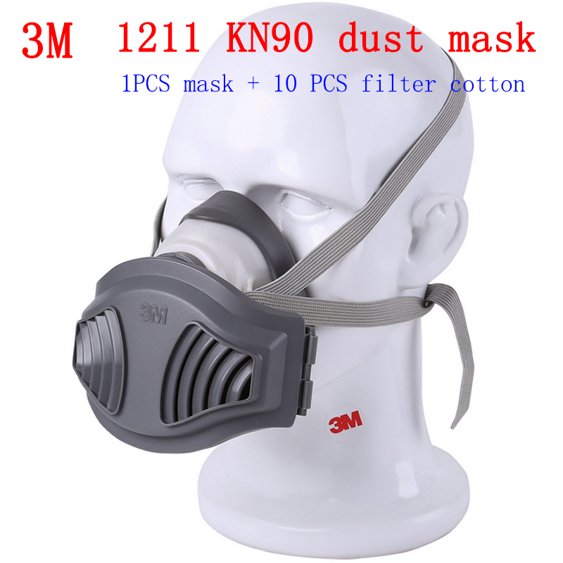 3M 1211 Genuine Respirator Dust Mask Pollen Cement Dust Microorganism PM2.5 Anti Dust Mask Industrial Safety Respirator Mask