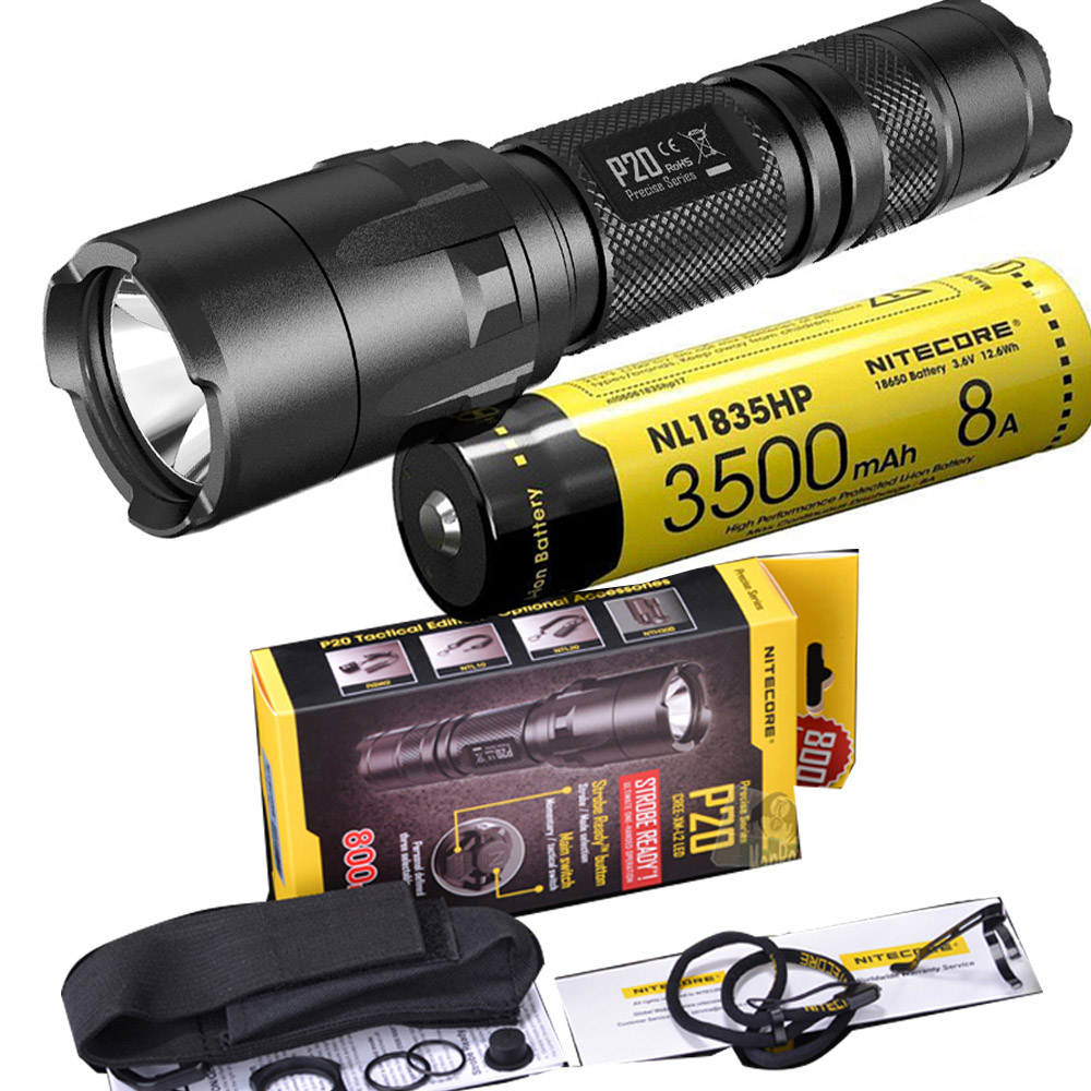 NITECORE P20 Flashlight CREE XM-L2 (U2) LED max. 800LM beam Dual-switch tail LED torch for outdoor sports with NL1835HP battery nitecore p20 flashlight cree xm l2 u2 led max 800lm led torch for outdoor sports 3500mah 18650 battery and um10 charger