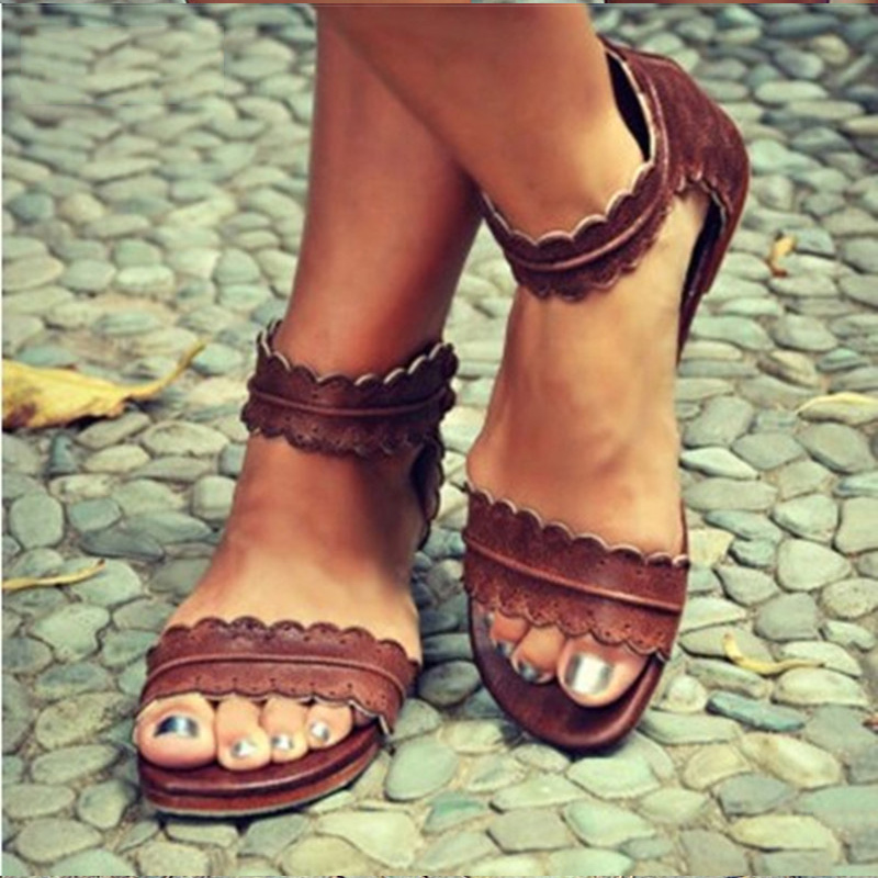 Women Sandals Retro Flats Sandals For Women Summer Shoes 2018 New Women Open Toe Beach Shoes Female Zip Casual Sandalias 42 43