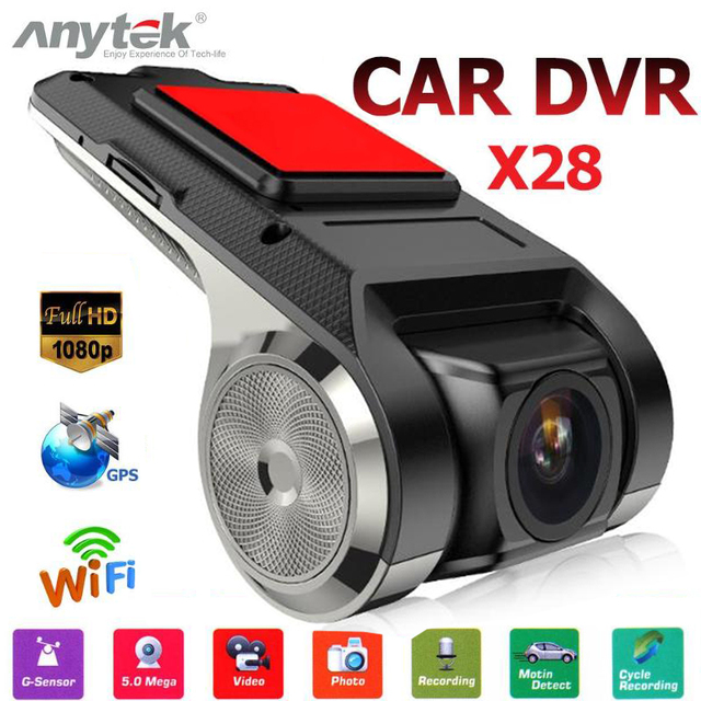 Anytek X28 Car DVR Camera1080P FHD Lens WiFi ADAS Built-in G-sensor Video Recorder Car Dash Camera Car Electronics Accessories