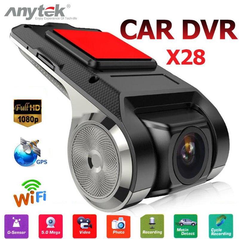 Anytek x28 1080 p lente fhd wifi adas carro dvr traço câmera built-in g-sensor de vídeo gravador de carro traço câmera acessórios do carro