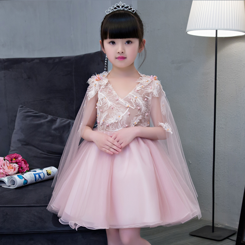 Flower Girl Dresses Ball Gown Beading Kids Dresses for Girls Pageant Dress for Party Birthday Sleeveless V-neck Princess Dress