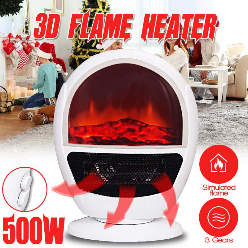 500W Simulated Flame Electric Heater Mini Fan Heater Desktop Household Handy Heating Stove Radiator Warmer Machine for Winter