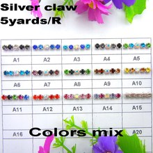 High density 5yards/Roll Silver claw colors mix ss6 2mm ss8 2.5mm ss10 2.8mm ss12 3mm rhinestone chain Sew On glue on trim
