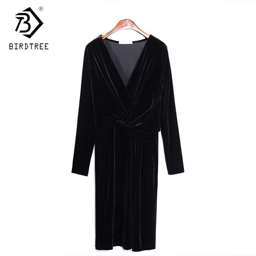 2018 Новое поступление осенние платья Повседневное v-образным вырезом элегантность длинный рукав, золото бархат женская одежда Hots D88642LD
